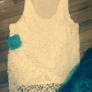 J Crew knit Tank - pure white w/lace overlay